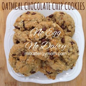 Oatmeal Chocolate Chip Cookies {Dairy-Free & Egg-Free}