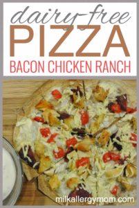 Chicken Bacon Ranch Tortilla Pizza {Dairy-Free}