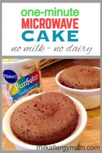 1-Minute Microwave Cake {Dairy-Free & Egg-Free}