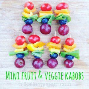 Mini Fruit & Veggie Kabobs ~ A Rainbow!