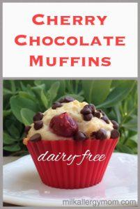 Chocolate Cherry Muffins {Dairy-Free & Egg-Free}