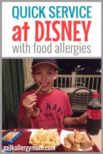 Quick Service at Disney World with Food Allergies