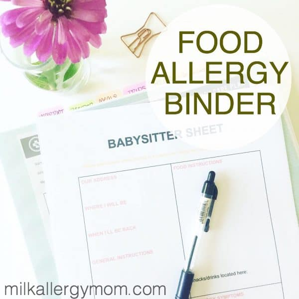 Milk Allergy Mom Food Allergy Binder