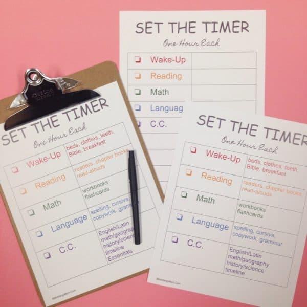 Home School Schedule Sheets