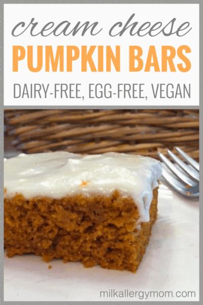 Dairy-Free, Egg-Free, Vegan Cream Cheese Pumpkin Bars