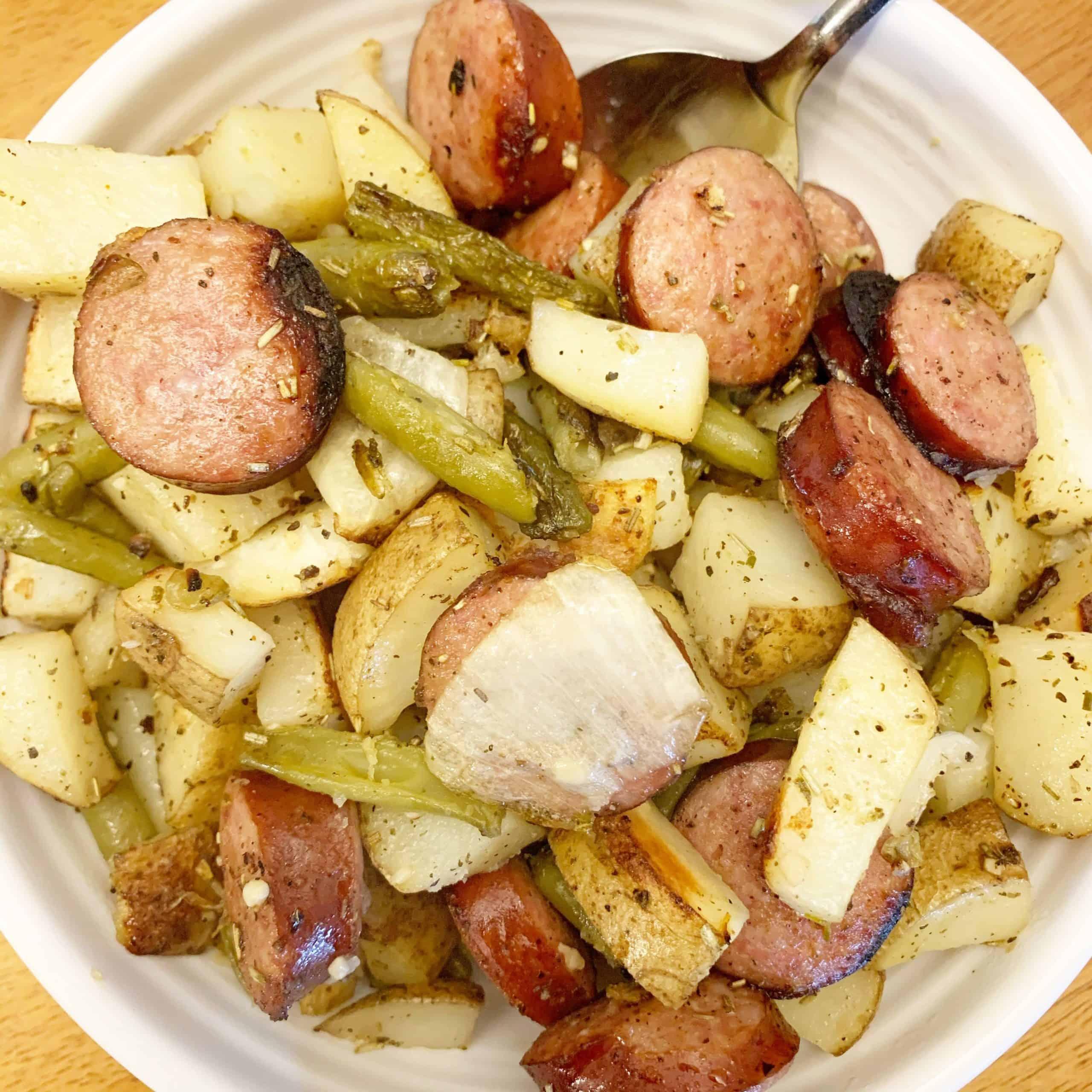 sheet pan sausage meal